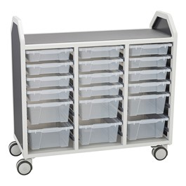 "Profile Series Triple-Wide Mobile Classroom Storage Cart w/ 12 Small & 6 Large Bins (42"" W x 35 1/2\"" D)"