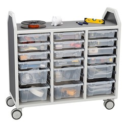 "Profile Series Triple-Wide Mobile Classroom Storage Cart w/ 12 Small & 6 Large Bins (42"" W x 35 1/2"" D)"