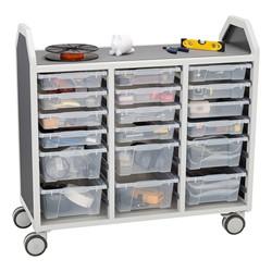 "Profile Series Triple-Wide Mobile Classroom Storage Cart w/ 12 Small & 6 Large Bins (42"" W x 35 1/2"" D)"