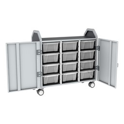 Profile Series Triple-Wide Mobile Classroom Storage Tower w/ Doors - 12 Large Bins - Clear
