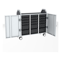 Profile Series Triple-Wide Mobile Classroom Storage Tower w/ Doors - 12 Small & 6 Large Bins - Translucent Graphite