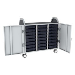 Profile Series Triple-Wide Mobile Classroom Storage Tower w/ Doors - 24 Small Bins - Translucent Navy