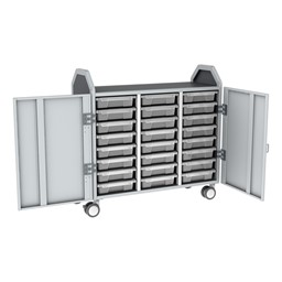 Profile Series Triple-Wide Mobile Classroom Storage Tower w/ Doors - 24 Small Bins - Clear