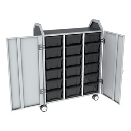 Profile Series Triple-Wide Mobile Classroom Storage Tower w/ Doors - 18 Large Bins - Translucent Graphite