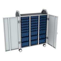 Profile Series Triple-Wide Mobile Classroom Storage Tower w/ Doors - 18 Small & 9 Large Bins - Translucent Brilliant Blue
