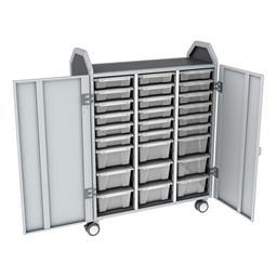 Profile Series Triple-Wide Mobile Classroom Storage Tower w/ Doors - 18 Small & 9 Large Bins - Clear