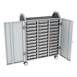 Profile Series Triple-Wide Mobile Classroom Storage Tower w/ Doors - 36 Small Bins - Clear