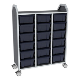 Profile Series Triple-Wide Mobile Classroom Storage Tower - 18 Large Bins - Translucent Navy