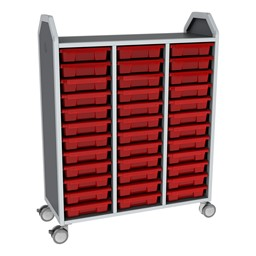 Profile Series Triple-Wide Mobile Classroom Storage Tower - 36 Small Bins - Translucent Red