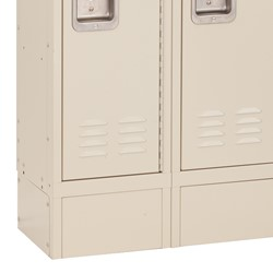 """Deluxe Three-Wide Double-Tier School Lockers w/ Slope Top & Kickplate - Assembled (12"""" W x 15"""" D x 36"""" H Openings) - Parchment - Kickplate"""