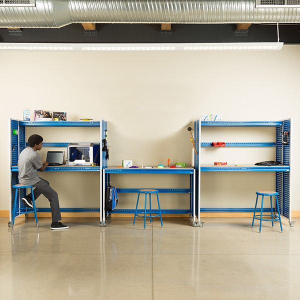 """Creation Station Set - One Workbench (60"""" L x 30"""" D x 36"""" H) & Two Tall Workbenches (60"""" L x 30"""" D x 70"""" H) - Stools & bins sold separately (accessories not included)"""