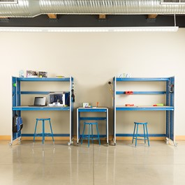 """Creation Station Set - One Workbench (30\"""" L x 30\"""" D x 36\"""" H) & Two Tall Workbenches (60\"""" L x 30\"""" D x 70\"""" H) - Stools & bins sold separately (accessories not included)"""