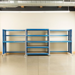 "Creation Station Set - Two Tall Workbenches (60"" L x 30\"" D x 70\"" H) & One Shelving Unit (60\"" L x 30\"" D x 70\"" H)"