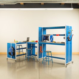 """Creation Station Set - One Tall Workbench (60\"""" L x 30\"""" D x 70\"""" H), One Workbench (30\"""" L x 30\"""" D x 36\"""" H), One Workbench (60\"""" L x 30\"""" D x 36\"""" H) - Stools & bins sold separately (accessories not included)"""