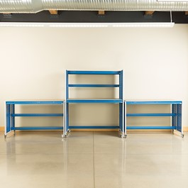 """Creation Station Set - One Tall Workbench (60\"""" L x 30\"""" D x 70\"""" H) & Two Workbenches (60\"""" L x 30\"""" D x 36\"""" H)"""