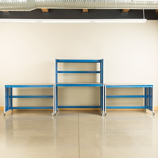 "Creation Station Set - One Tall Workbench (60"" L x 30"" D x 70"" H) & Two Workbenches (60"" L x 30"" D x 36"" H)"