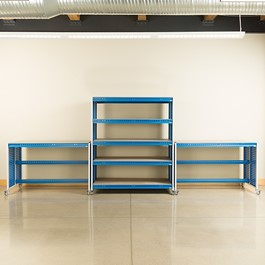 "Creation Station Set - One Shelving Unit (60"" L x 30\"" D x 70\"" H) & Two Workbenches (60\"" L x 30\"" D x 36\"" H)"