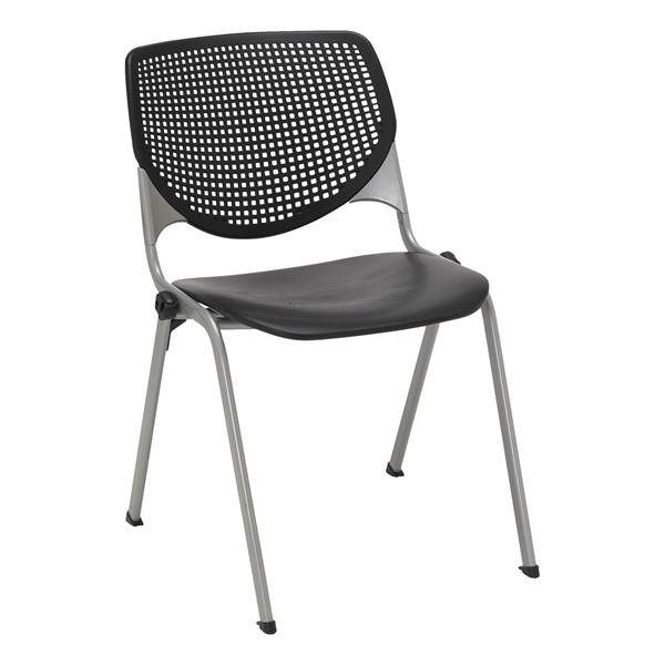 Energy Series Perforated Back Stack Chair w/ out Arms - Black
