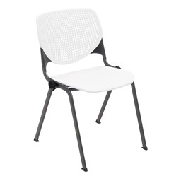 Energy Series Perforated Back Stack Chair w/o Arms - White w/ Black Frame