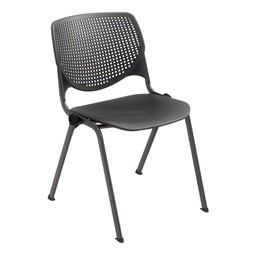 Energy Series Perforated Back Stack Chair w/o Arms - Black w/ Black Frame