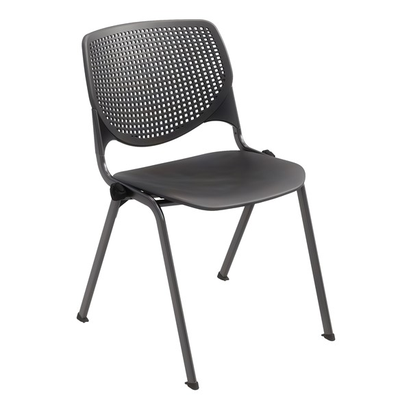 Energy Series Perforated Back Stack Chair w/ out Arms - Black w/ Black Frame
