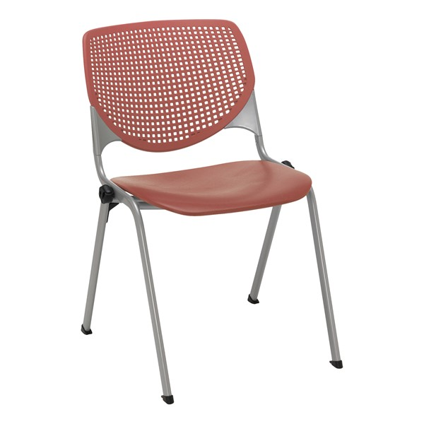 Energy Series Perforated Back Stack Chair w/ out Arms - Coral