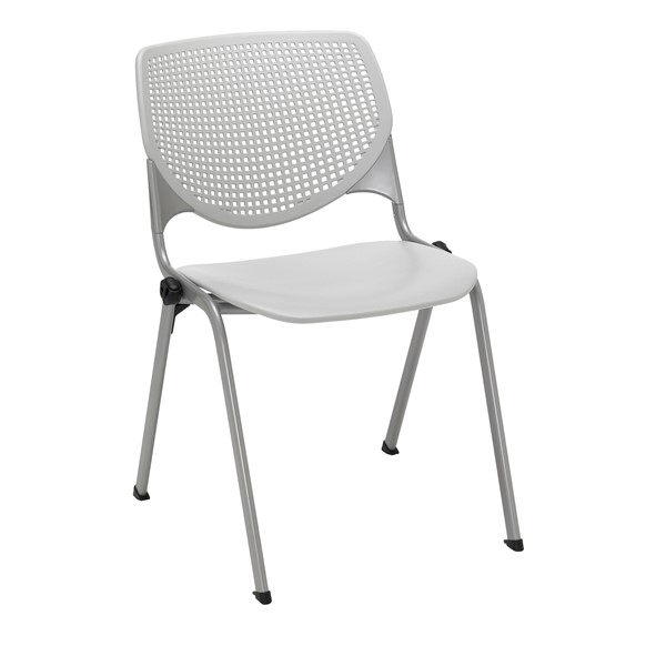 Energy Series Perforated Back Stack Chair w/ out Arms - Light Gray
