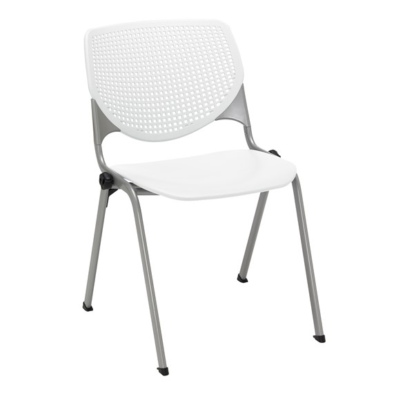 Energy Series Perforated Back Stack Chair w/ out Arms - White