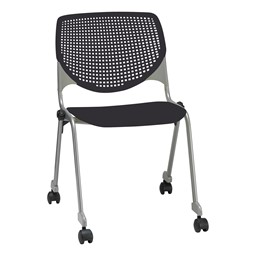 Energy Series Perforated Back Mobile Stack Chair w/ out Arms - Black