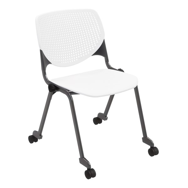 Energy Series Perforated Back Mobile Stack Chair w/ out Arms - White w/ Black Frame
