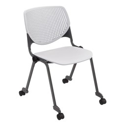 Energy Series Perforated Back Mobile Stack Chair w/ out Arms - Light Gray w/ Black Frame