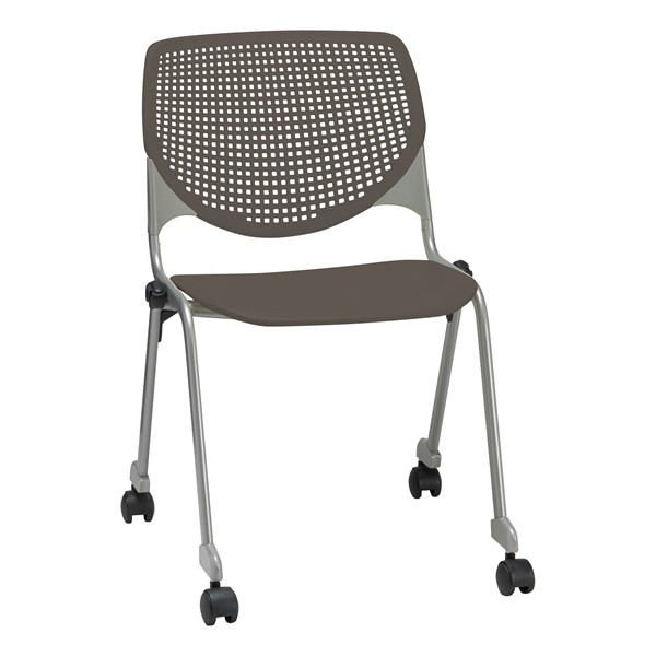 Energy Series Perforated Back Mobile Stack Chair w/ out Arms - Brownstone