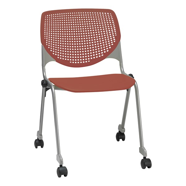 Energy Series Perforated Back Mobile Stack Chair w/ out Arms - Coral