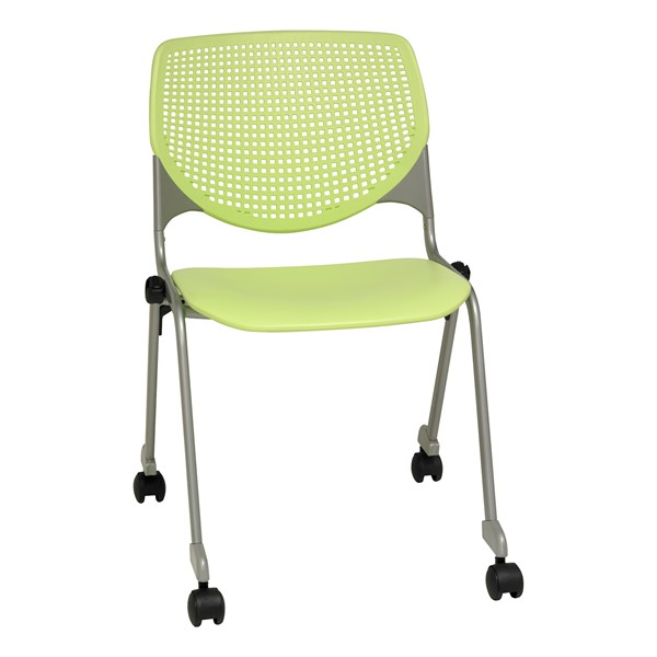 Energy Series Perforated Back Mobile Stack Chair w/ out Arms - Lime Green