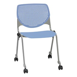 Energy Series Perforated Back Mobile Stack Chair w/ out Arms - Periwinkle
