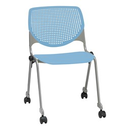 Energy Series Perforated Back Mobile Stack Chair w/ out Arms - Sky Blue