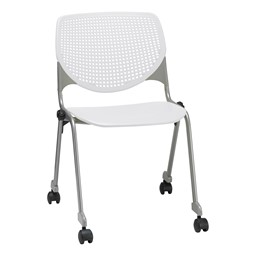 Energy Series Perforated Back Mobile Stack Chair w/ out Arms - White