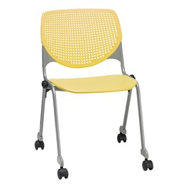 Energy Series Perforated Back Mobile Stack Chair w/ out Arms - Yellow