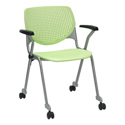 Energy Series Perforated Back Mobile Stack Chair w/ Arms - Lime Green
