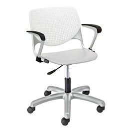 Energy Series Perforated Back Plastic Office Chair w/ Arms - White