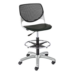Energy Series Perforated Back Adjustable-Height Drafting Stool w/ out Arms - Black