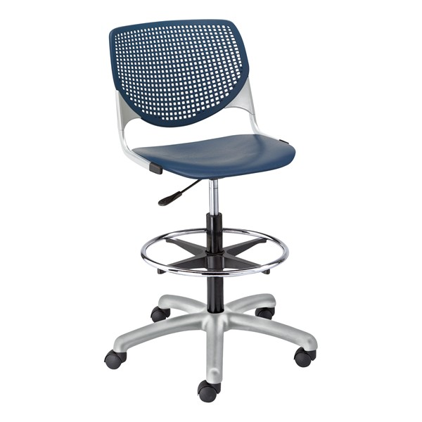Energy Series Perforated Back Adjustable-Height Drafting Stool w/ out Arms - Navy