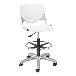 Energy Series Perforated Back Adjustable-Height Drafting Stool w/ out Arms - White