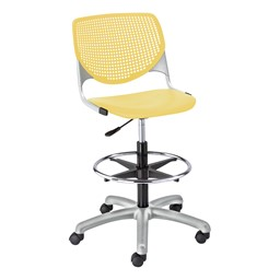 Energy Series Perforated Back Adjustable-Height Drafting Stool w/ out Arms - Yellow