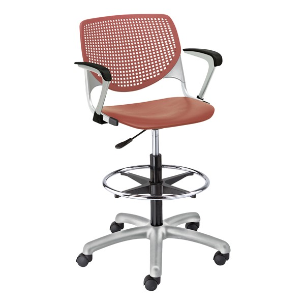 Energy Series Perforated Back Adjustable-Height Drafting Stool w/ Arms - Coral
