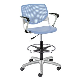 Energy Series Perforated Back Adjustable-Height Drafting Stool w/ Arms - Sky Blue