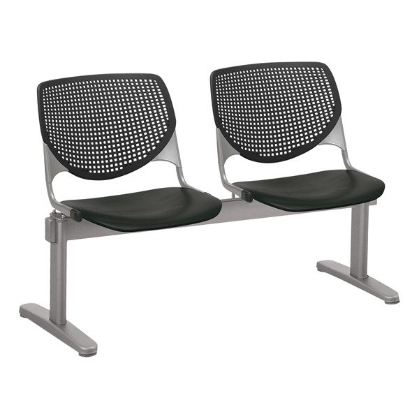 Energy Series Perforated Back Beam Seating w/ Two Seats - Black