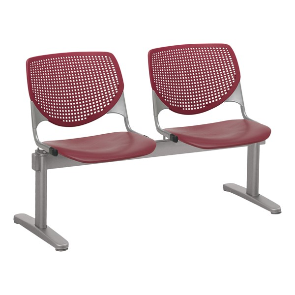 Energy Series Perforated Back Beam Seating w/ Two Seats - Burgundy