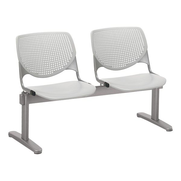 Energy Series Perforated Back Beam Seating w/ Two Seats - Light Gray