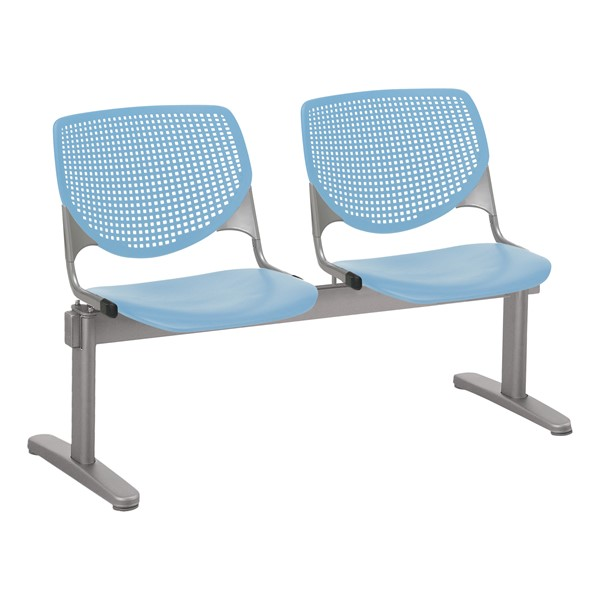 Energy Series Perforated Back Beam Seating w/ Two Seats - Sky Blue